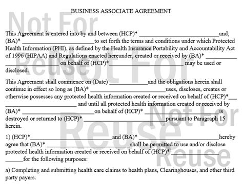 baa agreement template hipaa forms 2014 starter kit bci computers