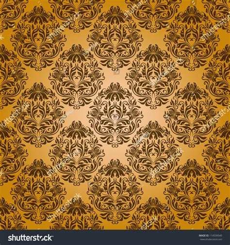 yellow royal pattern damask seamless floral pattern royal wallpaper stock