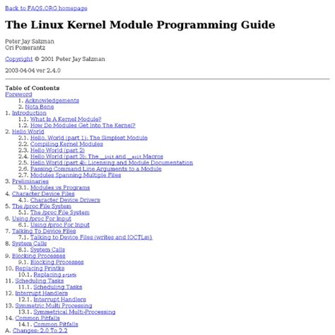 Tutorial Linux Kernel Programming   the linux kernel module programming guide pearltrees