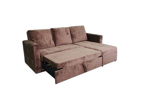 Chocolate Microfiber Sectional Sofa Bed With Right Facing