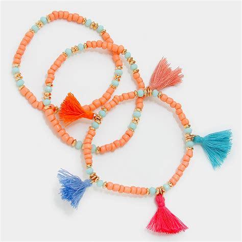 beaded tassel bracelet multicolored thread tassel charm beaded multi strand bracelet