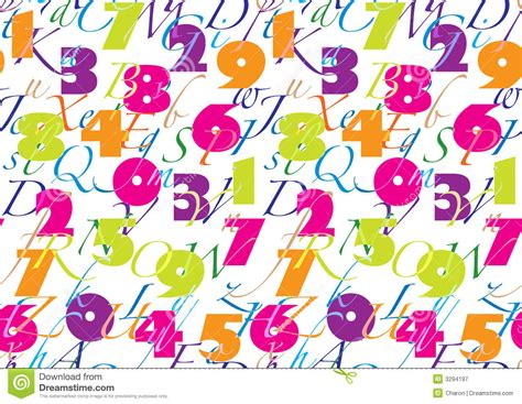 number pattern vector pattern with alphabet number seamless stock vector