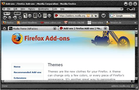 mozilla themes kostenlos oldfactory black firefox theme download chip