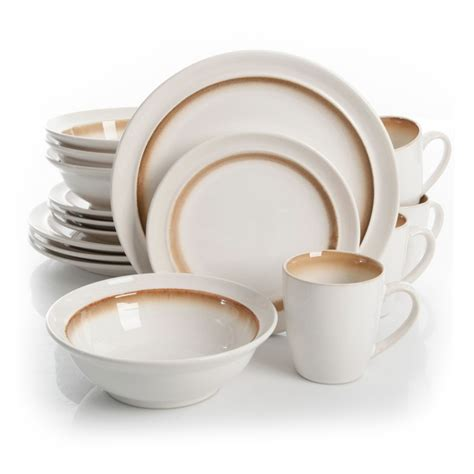 gibson lawson 16 dinnerware set brown