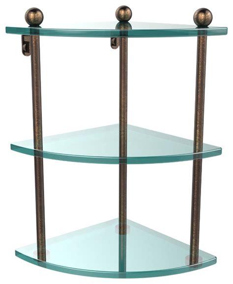 triple glass shelf bathroom triple corner glass shelf venetian bronze contemporary bathroom cabinets and