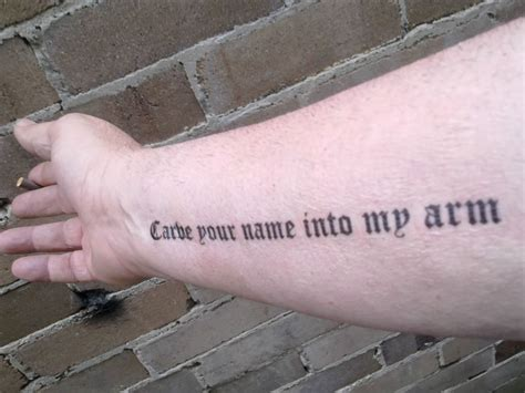 tattoo your name on my arm song tattoo parlour