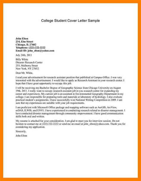 cover letter college exles 6 sle student cover letter science resume