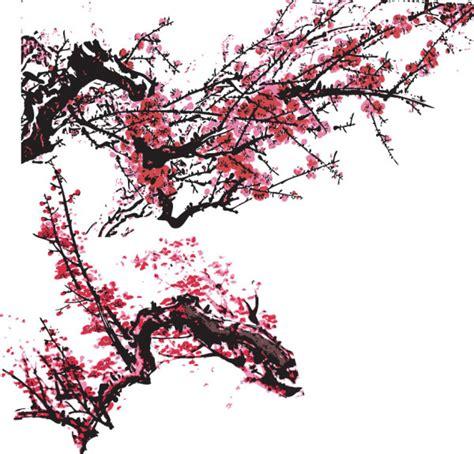 国画梅花传统图案矢量图 矢量设计元素 矢量素材 素彩网