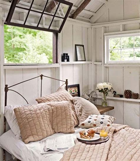 shed into bedroom inside of shed turned into guest room space for the home
