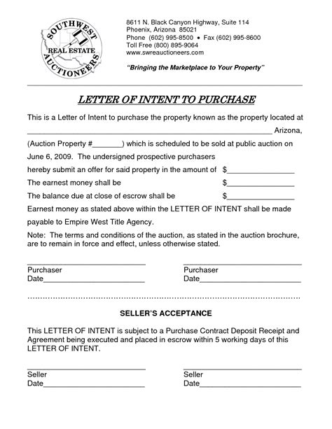 Letter Of Intent To Purchase Commercial Property Template Letter Of Intent Real Estate Purchase Free Printable Documents