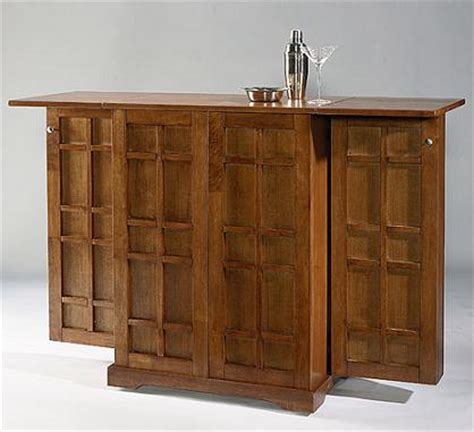 folding home bar on wheels with regal oak finish home