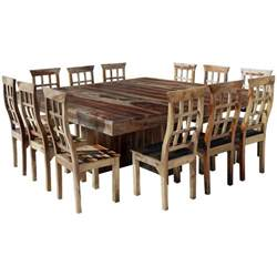 dallas ranch large square dining table chair set for 12