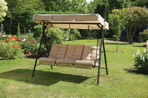 Luxury Cream 3 Seater Garden Swing Seat Hammock With Deep