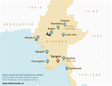 myanmar backpacking map leuke info laos myanmar