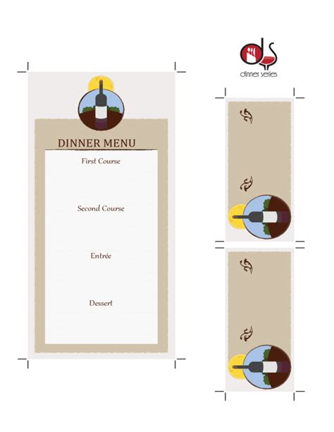 menu place cards template four course menu card template with place cards free