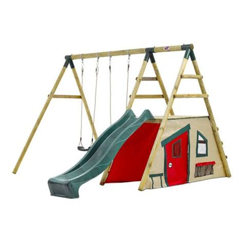 wooden double swing set plum chacma 174 wooden garden swing set with double swing