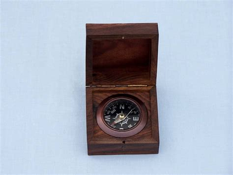 nautical home decor wholesale antique copper black desk compass with rosewood box 3 quot