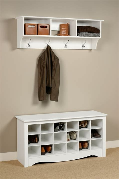 Entryway Shoe Storage Bench And Wall Mount Hutch Idee Placard A Chaussure