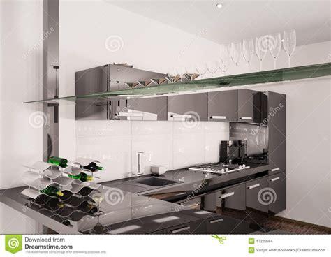 modern kitchen interior 3d rendering modern black kitchen interior 3d render stock images