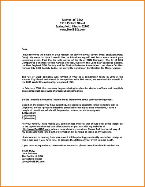 Cover Letter For Catering by Sle Business Letter For Catering Services Cover Letter Templates