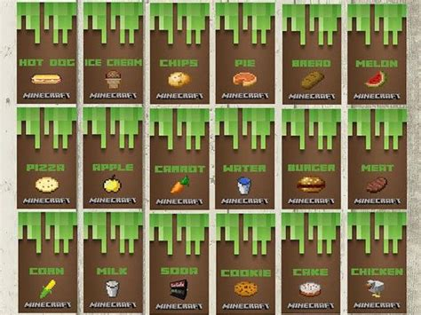 Minecraft Party Food Labels