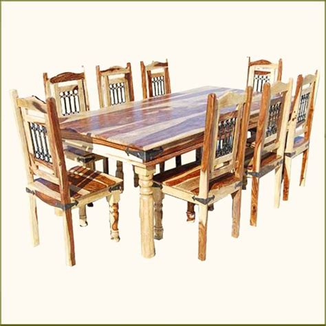 rustic solid wood dining table chairs set for 8