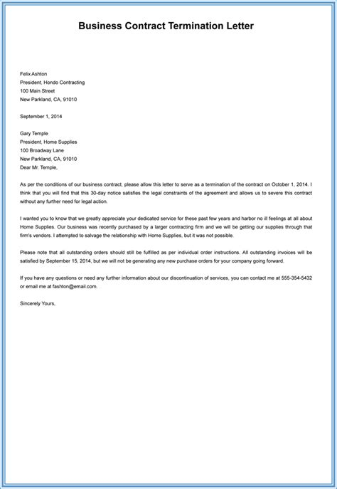 Contract Termination Letter Business Sle Termination Letter Without Cause Employment