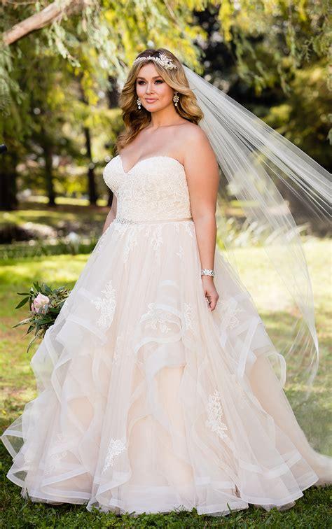 hochzeitskleid plus size pink floral lace plus size wedding dress with textured