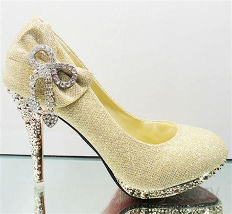 bowknot high heels bowknot rhinstone closed toe satin sparking wedding high heels