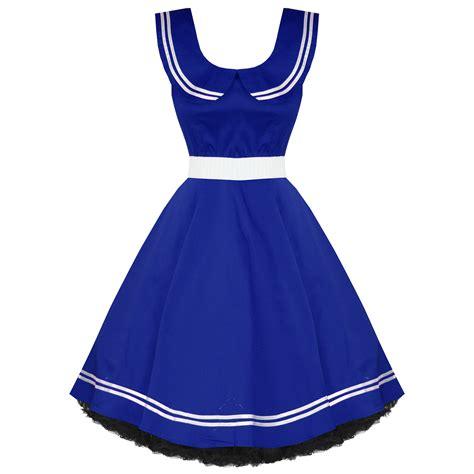 swing kleid blau kleid damen vintage segler stil 50er jahre rockabilly