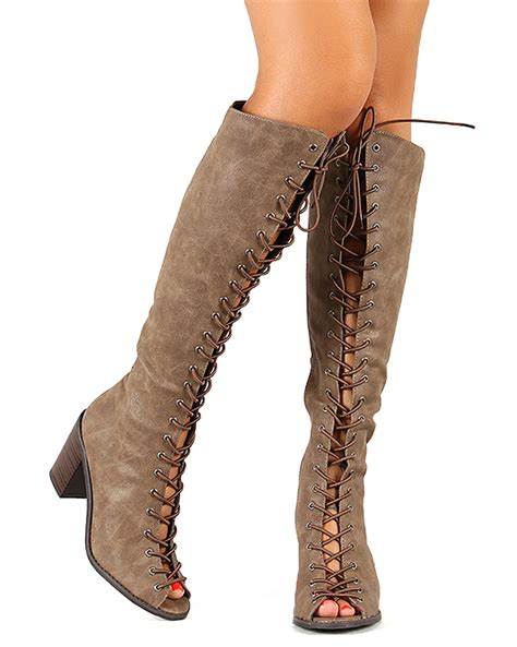 lace up knee high boots with heel breckelles tina 14 new peep toe lace up chunky heel