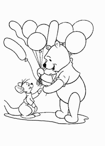Pooh Is Giving A Baloon To Roo Coloring Page Giving Coloring Pages