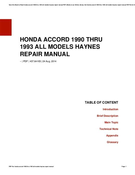 Honda Accord 1990 Thru 1993 All Models Haynes Repair Manual