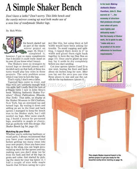 shaker bench plans shaker bench plans woodarchivist