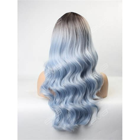 ombre synethic hair glacier blue ombre wavy wefted cap synthetic wig