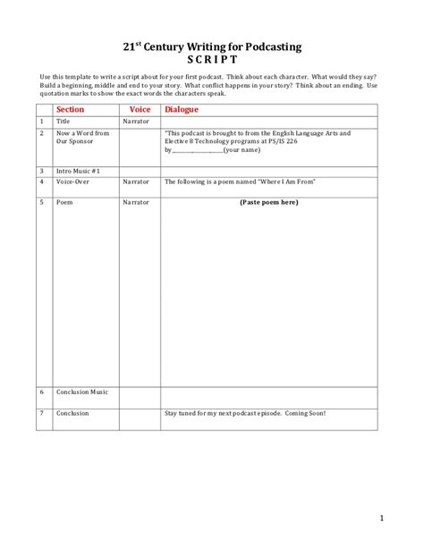 podcasting storyboard template