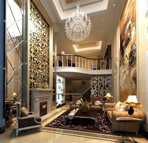 Lounge Living Room Posh Posh Living Room Interior With Fireplace 3d Model Max