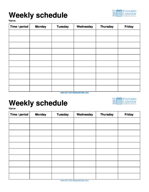 schedule templates for pages weekly schedule template 2017 printable calendar