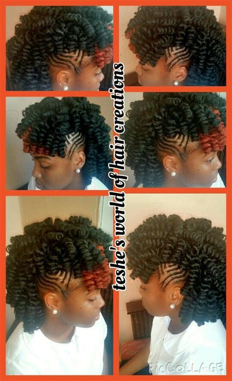 crochet mohawk hairstyle crochet braids with braided sides hairstyle ideas n