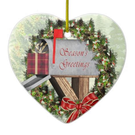 mailbox ornaments mailbox wreath and gift mail carrier ornament zazzle
