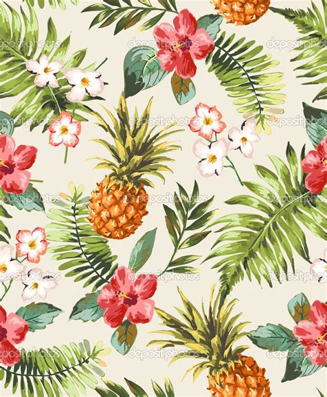 printable tropical flowers vintage seamless tropical flowers with pineapple vector