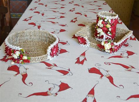 handmade christmas wool blend tablecloth gnomes
