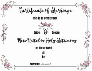 marriage certificate template customize