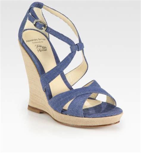 alexandre birman strappy denim wedge sandals in blue lyst