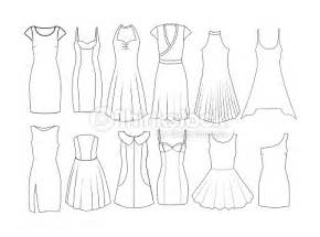 clothing sketch templates set of fashion flat templates sketches dresses stock