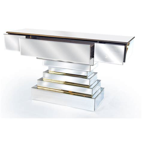 mirrored bench large mirrored console table by out there interiors