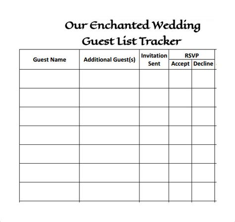 Printable Wedding Guest List Template Business Table List Wedding Template