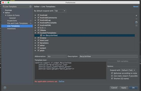 android studio templates how to create your own live templates in android studio intellij part 2 riggaroo android dev