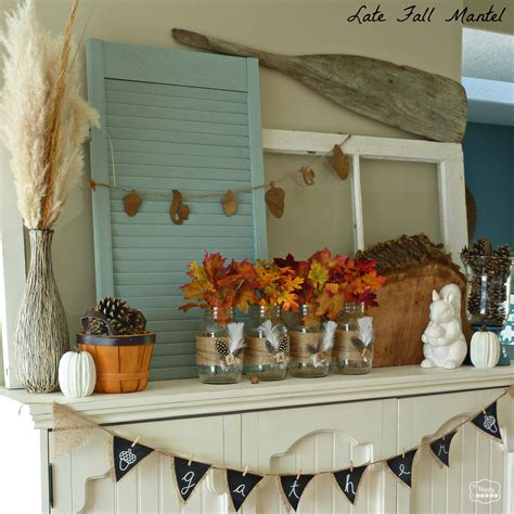 late fall mantel with diy burlap feather wrapped mason