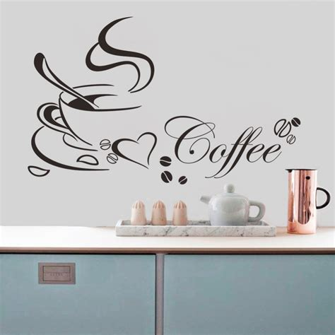 free shipping home decor free shipping coffee cup vinyl quote removable kitchen